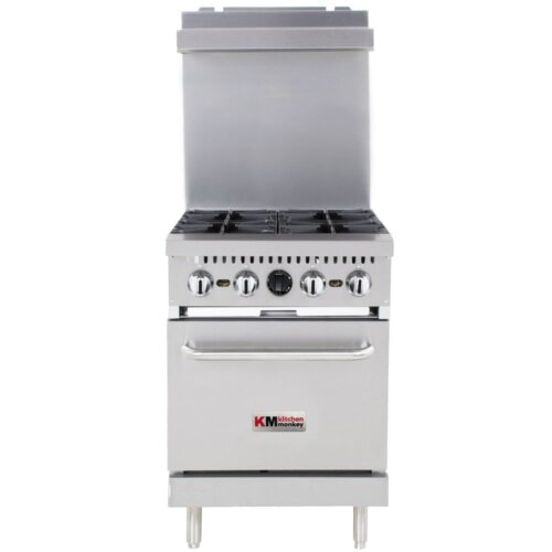 "Kitchen Monkey KMGR-24/NG Natural Gas 4 Burner 24"" Range with Standard Oven - 150,000 BTU"