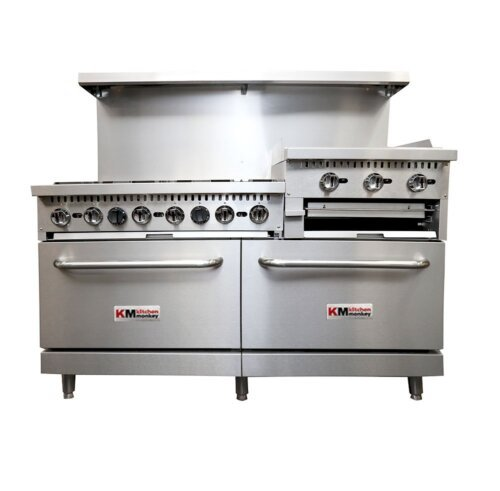 Commercial Gas Stove Griddle 24 inches Broiler 6BR NG