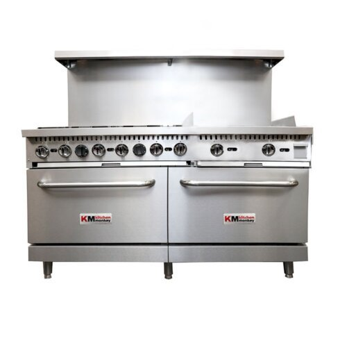 "Kitchen Monkey KMGR-6024GB/NG Natural Gas 6 Burner 60"" Range with 24"" Griddle and 2 Standard Ovens - 280,000 BTU"