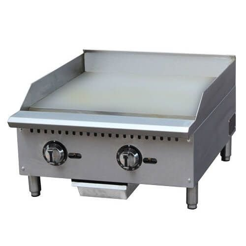 "Kitchen Monkey KMCTG-24T 24"" Gas Countertop Griddle with Thermostatic Controls - 60,000 BTU"