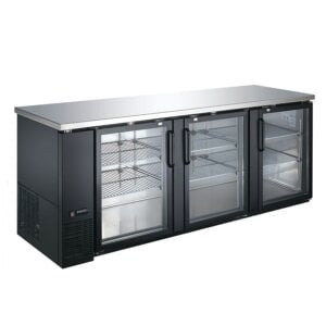 "Kitchen Monkey KMBB-9028G 90"" Back Bar Refrigerator - 32 Cu Ft"