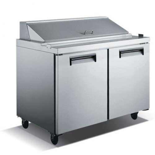 "Admiral Craft U-Star USSL-2D/60 60"" 2 Door Stainless Steel Refrigerated Sandwich Prep Table - 15 Cu Ft"