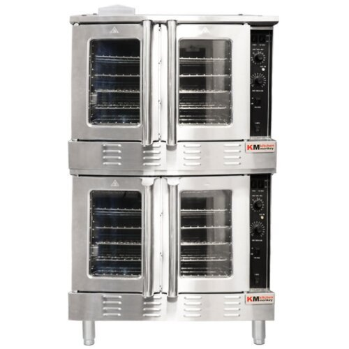 Kitchen Monkey KMCOF-108/NG Double Deck Full Size Natural Gas Convection Oven - 108,000 BTU