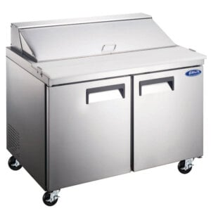 "Admiral Craft Grista GRSL-2D 47"" 2 Door Refrigerated Sandwich Prep Table - 12 Cu Ft"
