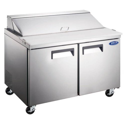 "Admiral Craft Grista GRSL-2D/60 60"" 2 Door Refrigerated Sandwich Prep Table - 15 Cu Ft"