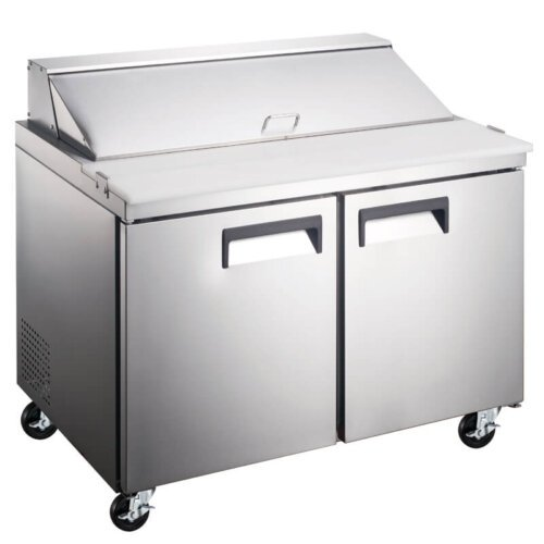 "Kitchen Monkey KMESL-2D 47"" 2 Door Refrigerated Sandwich Prep Table - 12 Cu Ft"