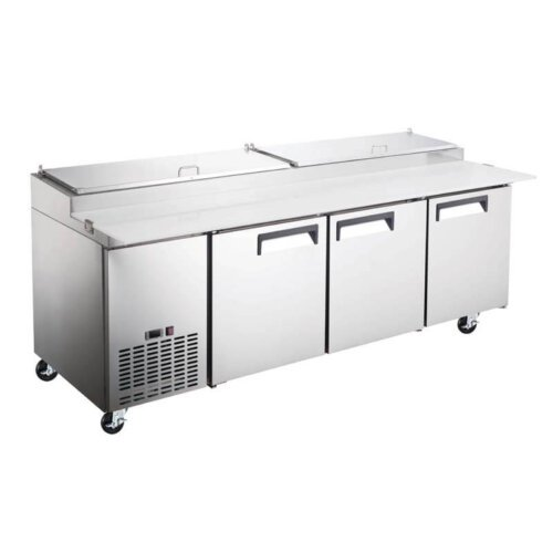 Three Door Refrigerated Pizza Prep Table 92 Inches KM Kitchen Monkey