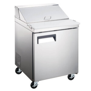 "Kitchen Monkey KMESL-1D 27.5"" 1 Door Refrigerated Sandwich Prep Table - 6 Cu Ft"