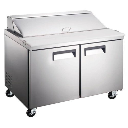 "Kitchen Monkey KMESL-2D/60 60"" 2 Door Refrigerated Sandwich Prep Table - 15 Cu Ft"