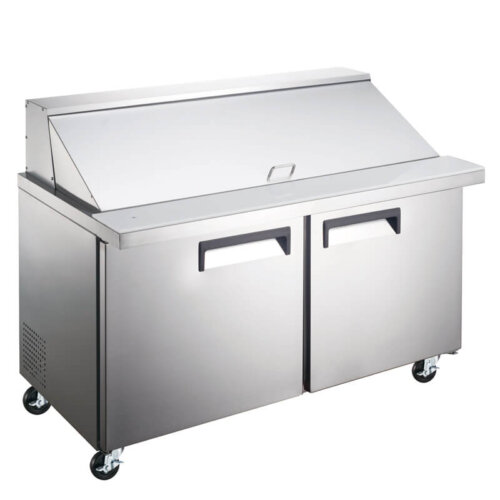 "Kitchen Monkey KMESLM-2D 47"" 2 Door Mega Top Refrigerated Sandwich Prep Table - 9.5 Cu Ft"