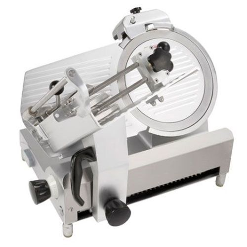"Kitchen Monkey KMSL300C 12"" Medium Duty Manual Gravity Feed Meat Slicer - 1/2 HP, 110V"