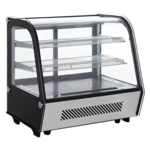 "Kitchen Monkey KMRCTD-120 28"" Curved Glass Refrigerated Countertop Bakery Display Case - 120 Liter, 4.2 Cu Ft"