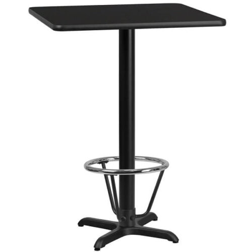 Square Black Laminate 24 Inch Bar Height Table with Foot Ring