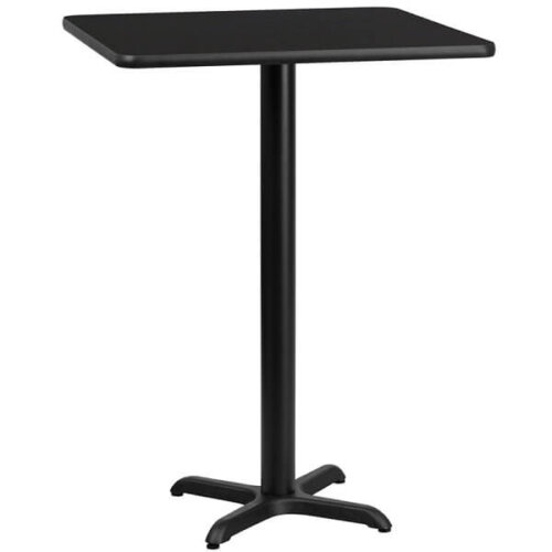 Square Black Laminate 24 Inch Table Top with Bar Height Base