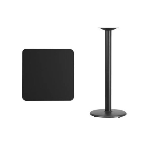 Square Black Laminate 24 Inch Table Top with Round Bar Height Base