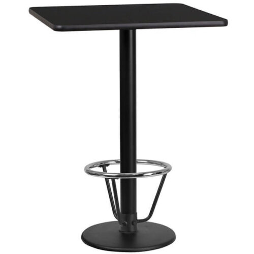 Square Black Table Top with Round Bar Height Base and Foot Ring