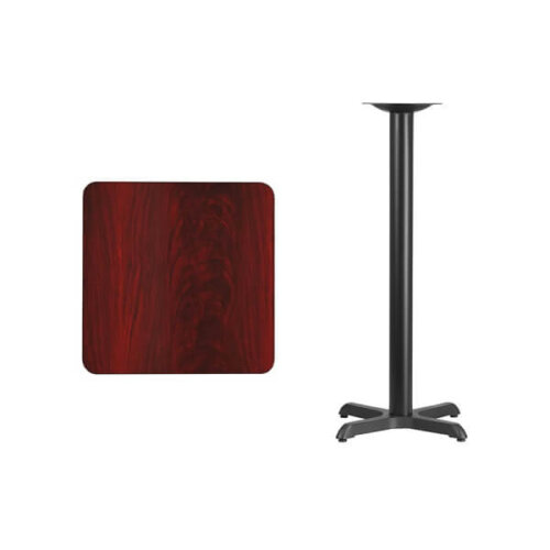 Square Mahogany Laminate 24 Inch Table Top with Bar Height Base