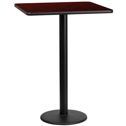 Square Mahogany Laminate 24 Inch Table Top with Round Bar Height Base