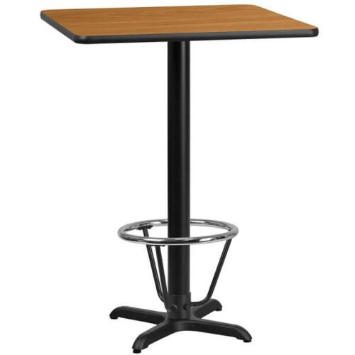 Square Natural Laminate 24 Inch Bar Height Table with Foot Ring