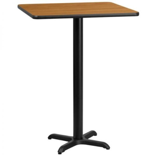 Square Natural Laminate 24 Inch Table Top with Bar Height Base