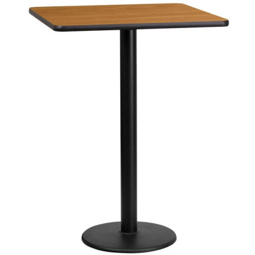 Square Natural Laminate 24 Inch Table Top with Round Bar Height Base