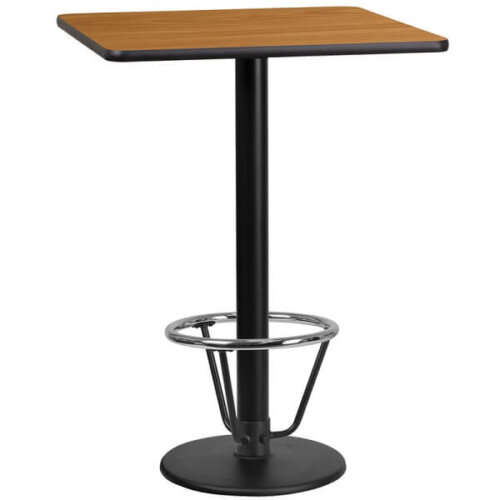 Square Natural Table Top with Round Bar Height Base and Foot Ring