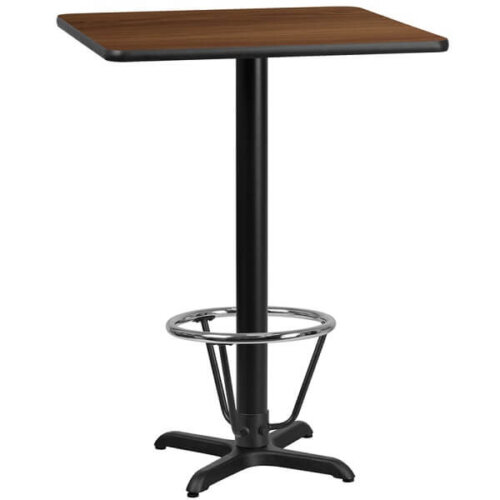 Square Walnut Laminate 24 Inch Bar Height Table with Foot Ring