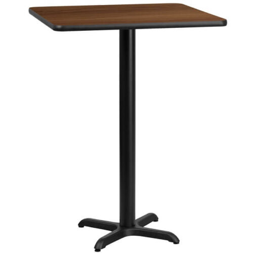 Square Walnut Laminate 24 Inch Table Top with Bar Height Base