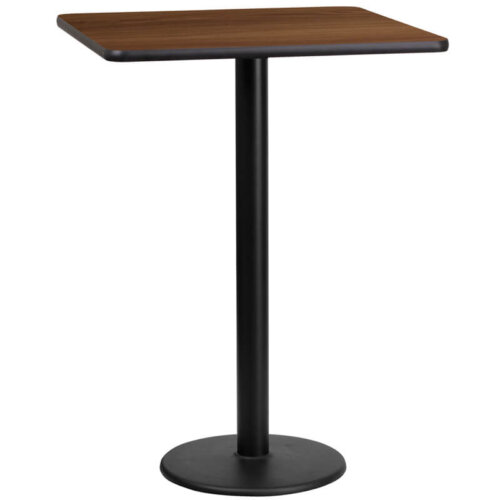 Square Walnut Laminate 24 Inch Table Top with Round Bar Height Base