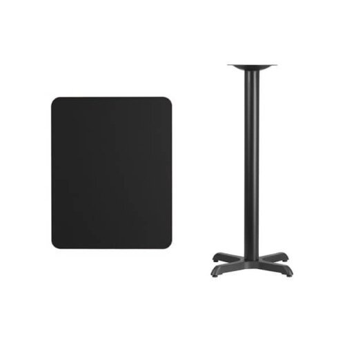 Rectangular Black Laminate Table Top with Bar Height Base