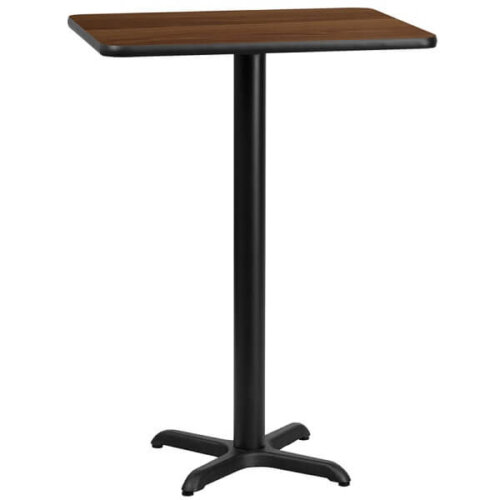 Rectangular Walnut Laminate Table Top with Bar Height Base
