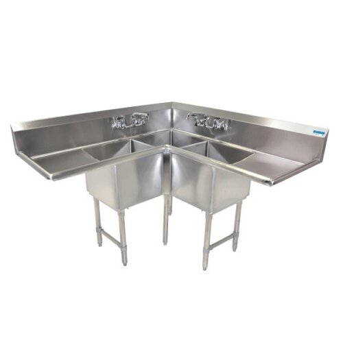 Corners Sink 3 Compartment 18X18X14 Bowls Two 24 Drainboards