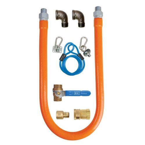 "BK Resources BKG-GHC-7572-SCK3 72"" Gas Connector Hose Kit with 2 Elbows, Shut-Off Valve, Restraining Device, and Quick Disconnect - 3/4"""