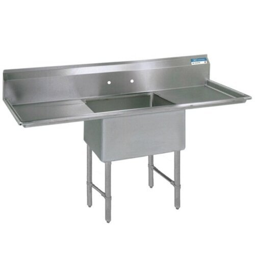 One Compartment Sink 24X24X14D Two 24 Inch Drainboard