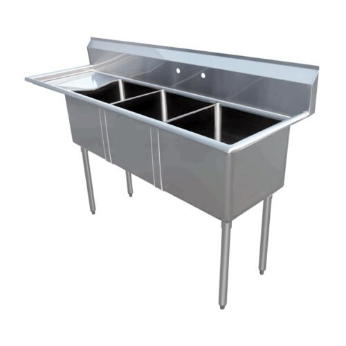 Three Tub Sink 10X14X10 with Center Drain and Left Drain Board