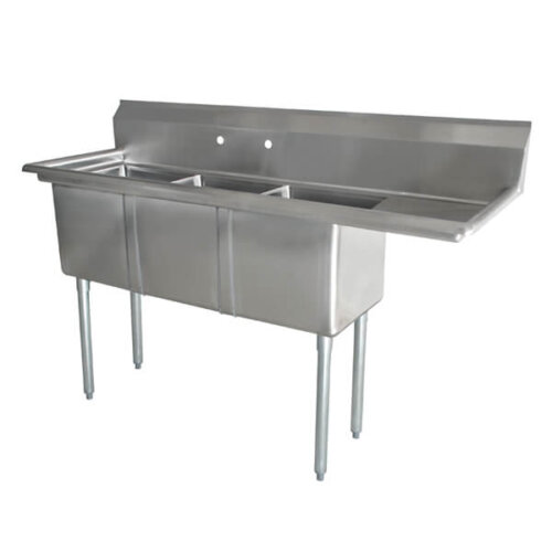 Three Tub Sink 10X14X10 with Center Drain and Right Drain Board