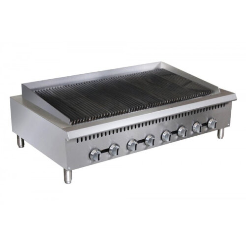 "Kitchen Monkey KMCTC-48 48"" Heavy Duty Gas Countertop Radiant Charbroiler"