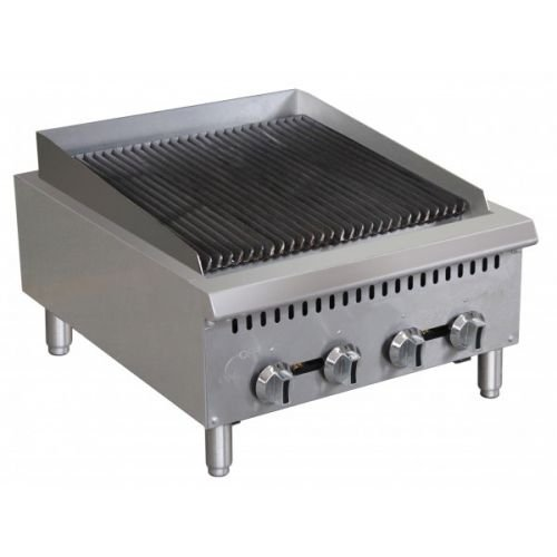 "Kitchen Monkey KMCTC-24 24"" Heavy Duty Gas Countertop Radiant Charbroiler"