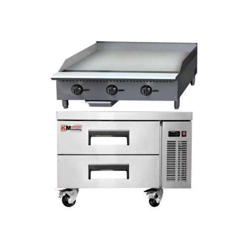 Kitchen Monkey Commercial Gas Griddle Thermostatic 36 inches 90K with 36 Inch 2 Drawer Refrigerated Chef Base