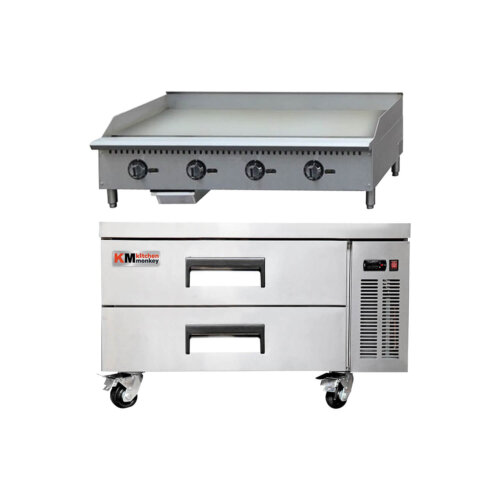 Kitchen Monkey Commercial Gas Griddle Thermostatic 48 inches 120K BTU NG with 52 Inch 2 Drawer Refrigerated Chef Base