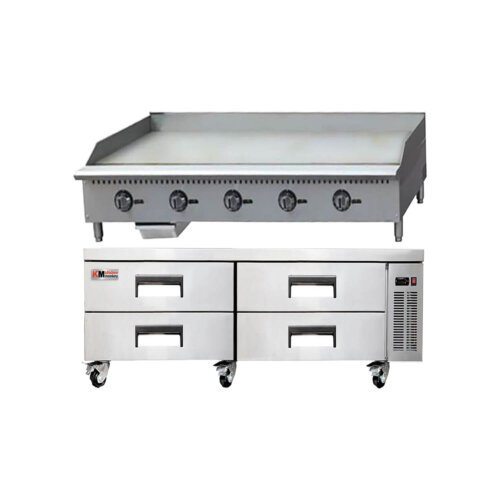 Kitchen Monkey Commercial Gas Griddle Thermostatic 60 inch with 72 inch 4 Drawer Refrigerated Chef Base