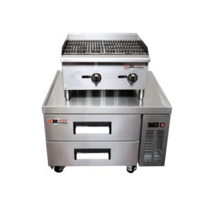 Kitchen Monkey Gas Countertop Radiant Charbroiler 24 inch 60,000 BTU with 36 Inch 2 Drawer Refrigerated Chef Base
