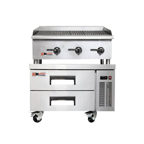Kitchen Monkey Gas Countertop Radiant Charbroiler 36 inch 90,000 BTU with 36 Inch 2 Drawer Refrigerated Chef Base