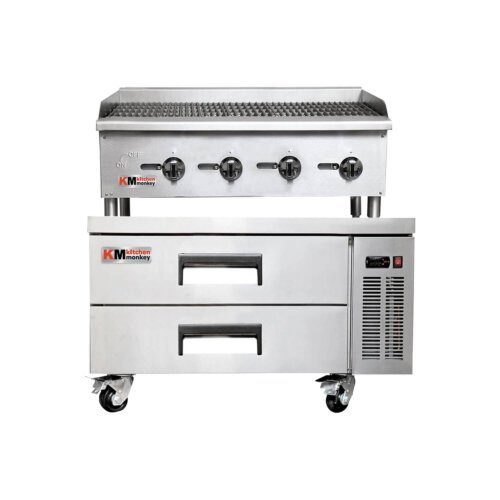 Kitchen Monkey Gas Countertop Radiant Charbroiler 48 inch 120,000 BTU with 52 Inch 2 Drawer Refrigerated Chef Base