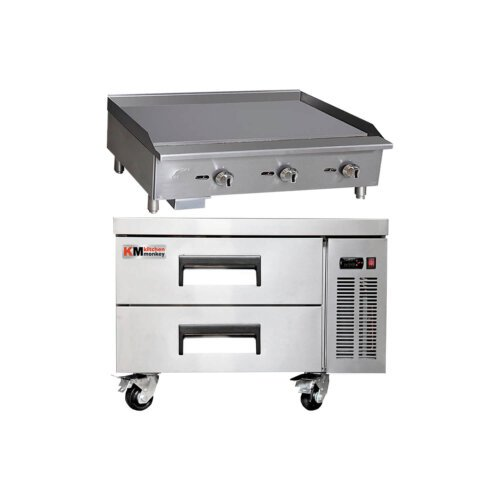 Kitchen Monkey Commercial Gas Griddle Manual Controls 36 inch with 36 inch 2 Drawer Refrigerated Chef Base