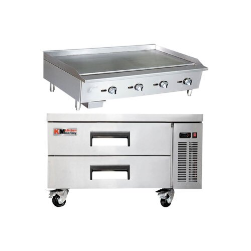 Kitchen Monkey Commercial Gas Griddle Manual Controls 48 inch with 52 Inch 2 Drawer Refrigerated Chef Base