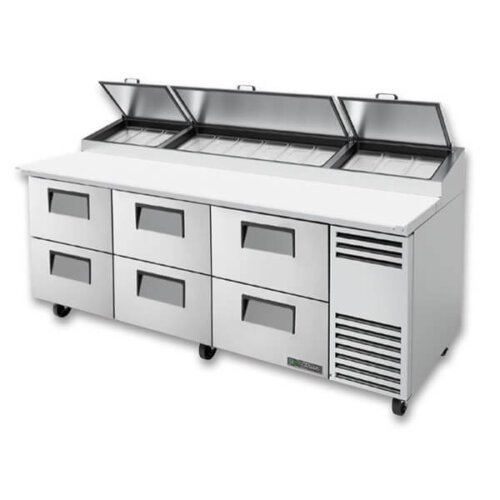 True TPP-AT-93D-6-HC Pizza Prep Table 12 Pans 93 inch