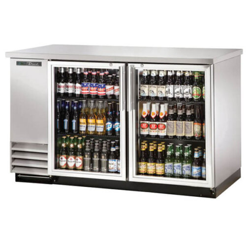 True TBB-2G-S-HC-LD Back Bar Refrigerator 2 Glass Door 59 inch Silver