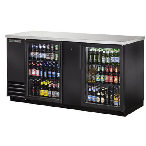 True TBB-3G-HC-LD Back Bar Refrigerator 2 Glass Doors 70 inch Black