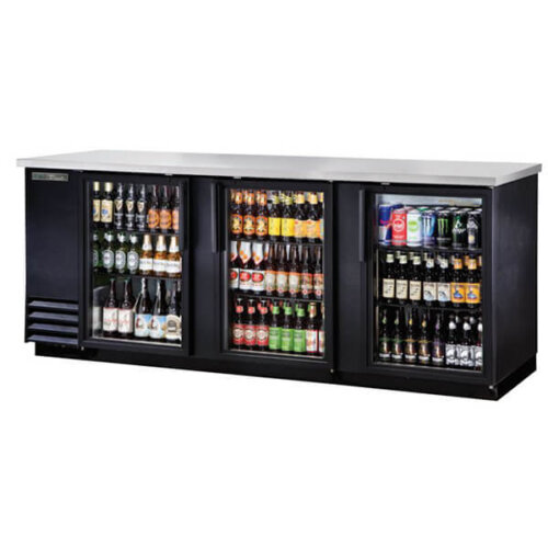 True TBB-4G-HC-LD Back Bar Refrigerator 3 Glass Doors 90 inch Black